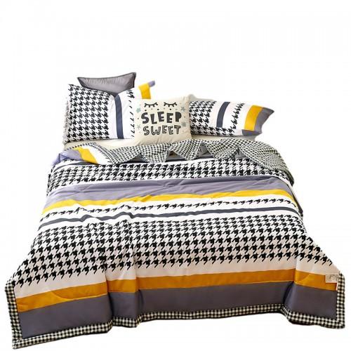 Dünne Steppdecke mit Baumwolldruck, dünne Steppdecke, zweifarbiger Druckstil innen und außen, Einzel- und Doppelkinder, bequeme Textur