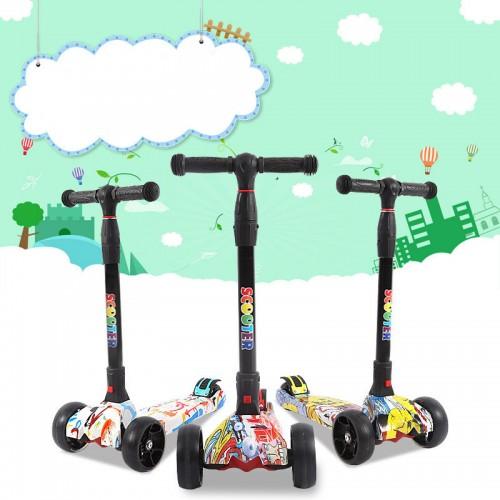 Scooter Kinder Roller, Dreiradscooter für Mädchen und Jungen, Höhenverstellbarer und Abnehmbarer Kinderscooter, mit PU Räder/Graffiti Kinder Scooter