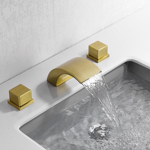 Gebürstetes Gold, einfacher und leichter Luxus-Warm- und Kaltwasserhahn, Waschbeckenhahn im Badezimmerschrank, dreiteiliges Set