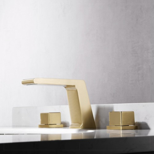 Gebürstetes Gold, leichter Luxusstil, Wasserhahn mit geteiltem Waschbecken, Dreiloch-Waschtischarmatur mit zwei Griffen
