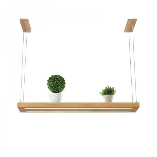 LED Hängelampe  Perfekt über dem Esstisch  Pendelleuchte Holz Edles Design  als Regal verwendbar  Dimmbar (100 cm)