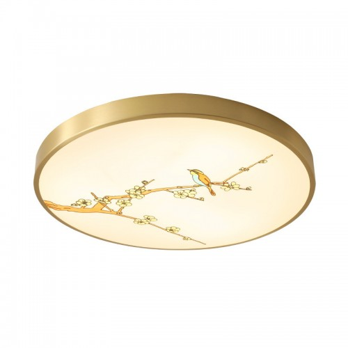 Emaille New Chinese Style | All Copper | Deckenlampe, Simple Chinese Style, Wohnzimmerlampe, Schlafzimmer Arbeitszimmer, runde Raumlampe | Durchmesser 30-50 cm