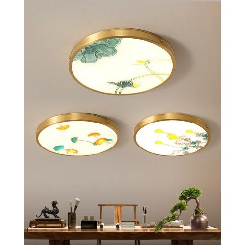 Emaille | New Chinese Style | All Copper | Deckenlampe, Simple Chinese Style, Wohnzimmerlampe, Schlafzimmer Arbeitszimmer, runde Raumlampe | Durchmesser 38-58 cm