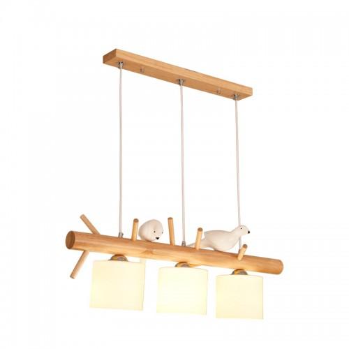 Vogel Holz Kronleuchter, nordische kreative Restaurant Kronleuchter, moderne Persönlichkeit, Massivholz Protokolle LED Studie Lichter, warmes Licht