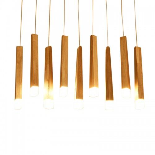 Kreativer Kerzenleuchter aus Massivholz mit Persönlichkeit, langes / rundes Holzacryl, LED-Kronleuchter, nordischer Match-Kronleuchter