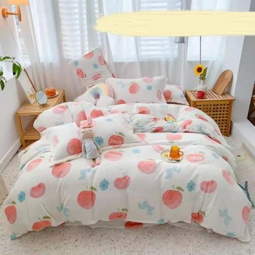 Einfacher und dicker | hochwertiger Milchsamt | kleiner frischer | Herbst- und Winterwärme | hautfreundlicher vierteiliger Anzug | Bettlaken-Bettbezug