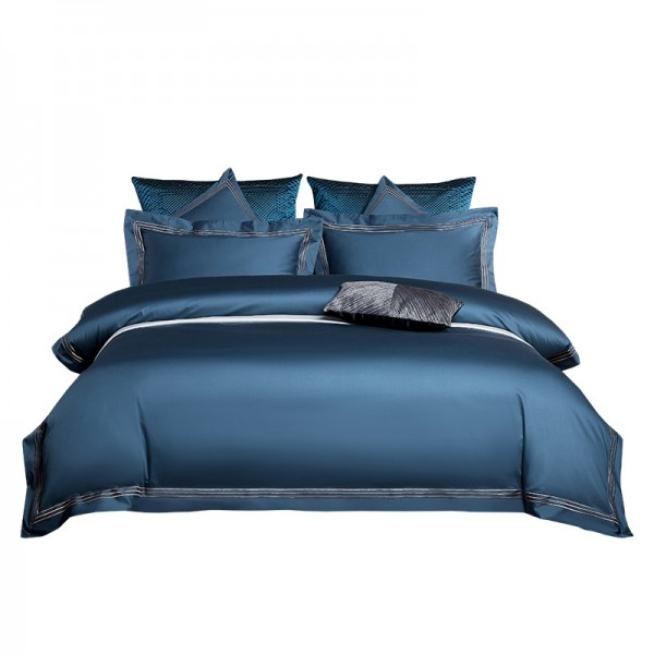Satin leichter Luxus | einfarbiges 4-teiliges Set aus Baumwolle mit 100 Fäden und Langer Heftklammer | Hautfreundlich aus reiner Baumwolle | Überlegene Bettwäsche | Bettwäsche