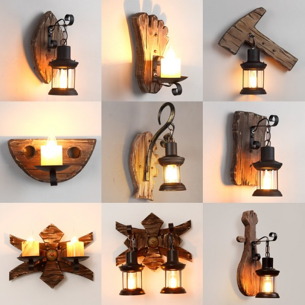 Retro nostalgische Boot Holzwandlampe, Industriestil, kreative Kleidung Hot Pot Restaurant Bar Restaurant, amerikanische Persönlichkeit dekorative Wandlampe