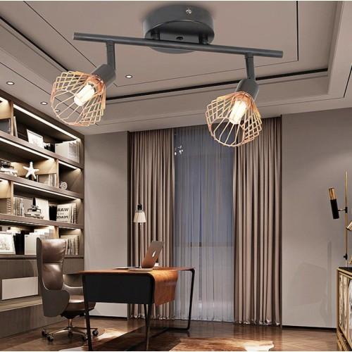 Lightbox LED Deckenstrahler, dimmbar, 3-flammige Retro Deckenleuchte, schwenkbar, G9 Fassung für max. 33 Watt, Metall, Schwarz, Kupfer