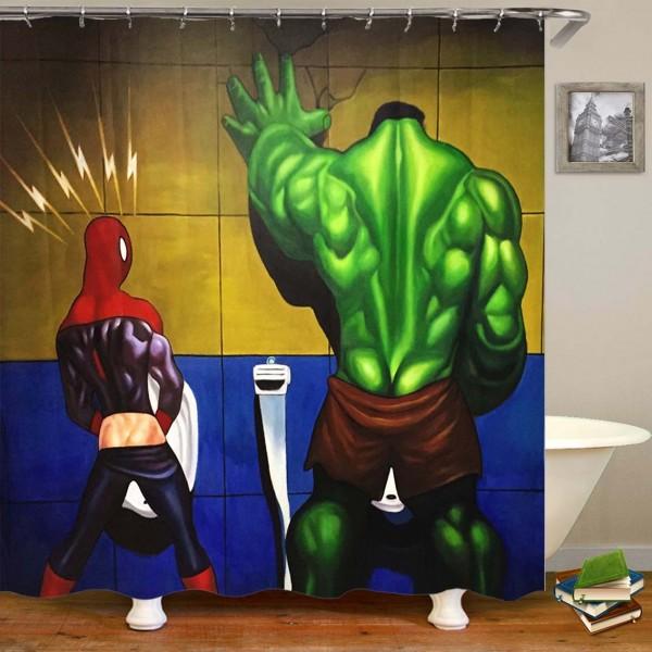 3D Waterproof Superhero Hulk und Spiderman Badezimmer Duschvorhang