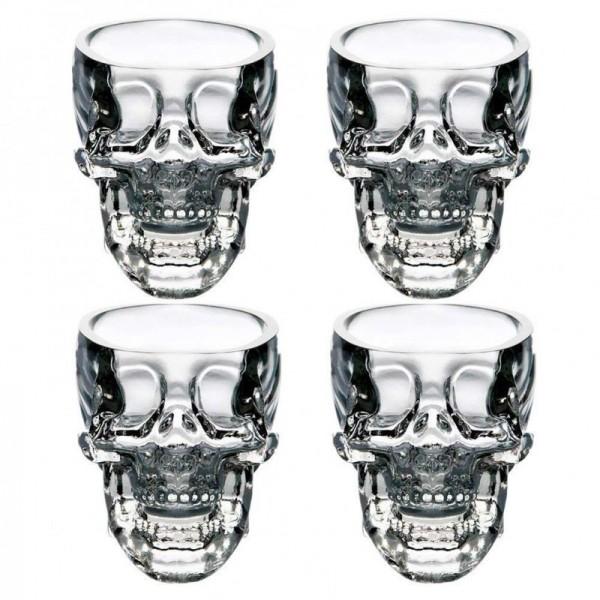 4er Set Skull-gläser, 3D Totenkopf Gläser