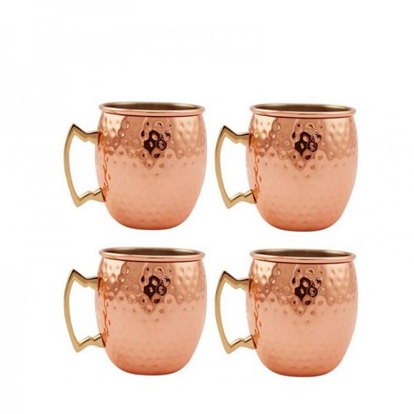 Satz von 4 Moscow Mule Copper Tassen mit Edelstahl-Futter - Premium Moscow Mule Geschenkset