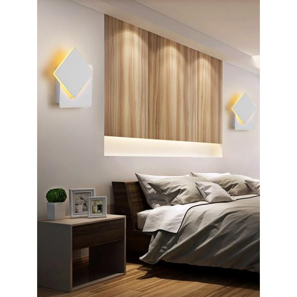 LED Wandlampe 360 Grad drehbare Wandleuchte Aluminium Wandspot für Treppen Wohnzimmer Schlafzimmer Balkon Hotel 5W 550 LM Warmweiß 3000K eckig weiß 10 x 10 x 5 CM [Energieklasse A+]