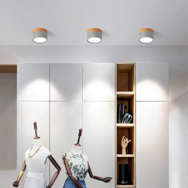 klein LED Deckenleuchte, 7W 11CM LED Flurlampe, Runde Deckenlampe Wohnzimmer, Holz & Metall, H x D: 11x 7.5 cm, Schwarz [Energieklasse A++]