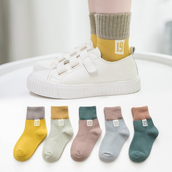 Kinder Baby Socken 0-12 Jahre Jungen Mädchen Täglich Basic Baumwolle Crew-Socken 5er Pack Schüler Casual Atmungsaktiv Bequem