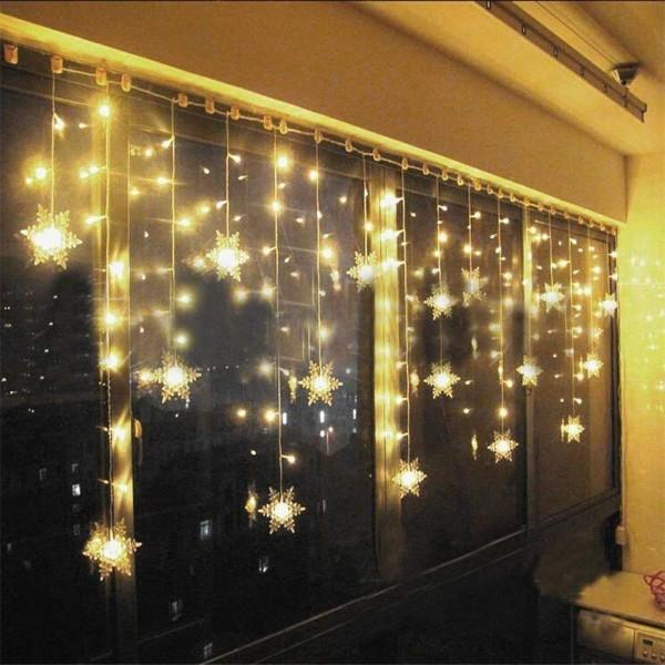LED Lichtervorhang, LED Lichterkette, WeihnachtenBeleuchtung, 96 LED Lichterkettenvorhang, Lang Schneeflocke LED String Licht, Innen/Außen, Weihnachtsdeko Christmas, Warmweiß 3.5 * 0.8M