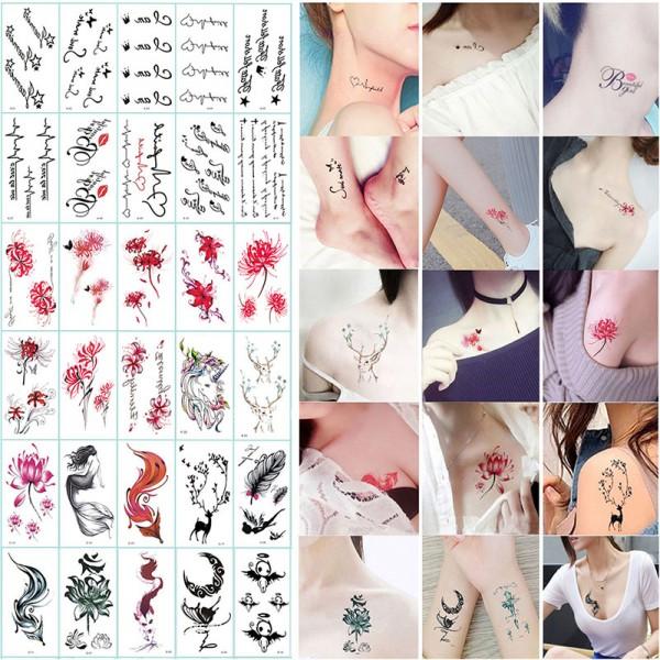 temporär Tätowierung schwarz Tattoo Körperkunst Kleine Bögen Tattoo Aufkleber Fake Arm Tattoos Sticker für männer Frauen (30 Blätter)