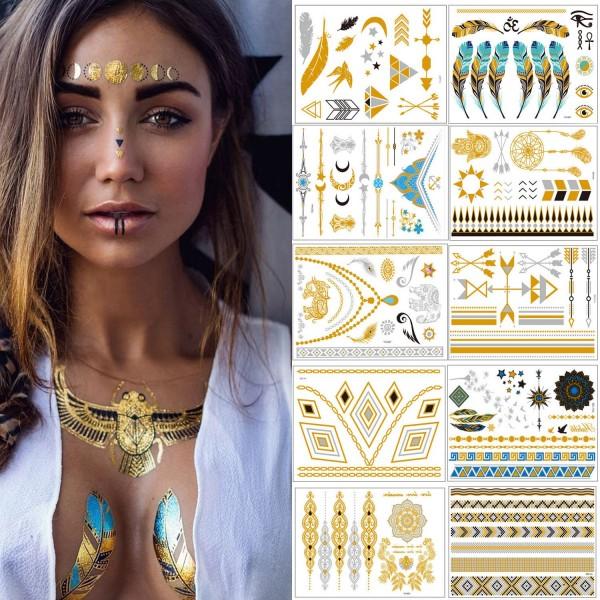 Flash Tattoos – Temporäre Klebe-Tattoos 10er Set Metallic Flash Tattoos in Gold und Silber Temporäre Tätowierung Wasserdichte