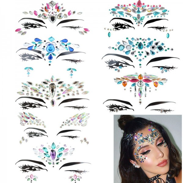 Gesicht Edelsteine ,Gesicht Schmucksteine Juwelen Sticker,Aufkleber Gesicht,Schmucksteine Selbstklebend Gesicht,Bindi Adhesive Strass Glitzer Gesicht Tattoo