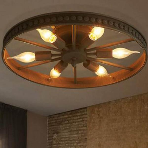 [Rabatt] Retro Wheel Deckenleuchte - Runde Deckenleuchte -Industry Ring Design luster Kreative Decorative E14 Deckenstrahler