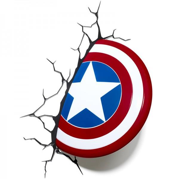 Light 3D-Wandleuchte Marvel Captain America-Schild von 3D FX