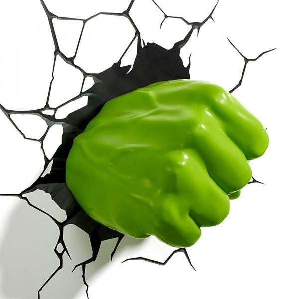 Light 3D FX Marvel Hulk, rechte Faust 3D-Deko, LED Wandleuchte