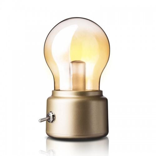 Retro Birne Lampe USB wiederaufladbare LED Nachtlicht Mini Nachttisch Schreibtischlampe Energiesparende elegante für Schlafzimmer Nachttisch Beleuchtung