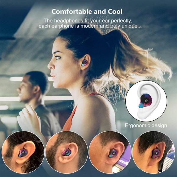Echtes drahtloses Headset, TWS Bluetooth-Headset, Bluetooth 5.0-Headset mit klarem 3D-Sound, ultraschnelles Pairing, 30 Stunden Wiedergabezeit