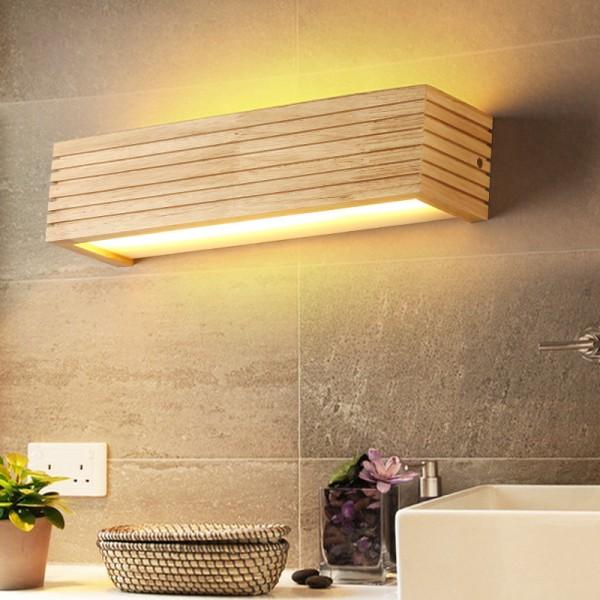 LED Wandleuchte holz,Moderne Wandlampe Holz Flurlampe Nachtlampe, Schlafzimmer Treppenhaus Flur Wandbeleuchtung Innenbeleuchtung (35CM)