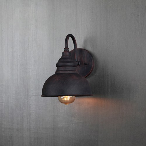 Außenwandleuchte Vintage Industrielle Wandlampe Antik Alu Außenlampe Retro Wasserdichter Rostbraun Aussen-Licht Metall Schatten E27 Gartenlicht Für Außenwand Flur Terrasse