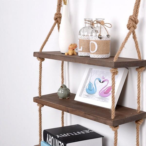 Schwebendes Seil Regal mit 3 Etagen Vintage Chic Regal, rustikal, schwimmendes Regal, mehrstufiges Regal, zum Aufhängen an der Wand (DREI Reihen-Seil-Regal)
