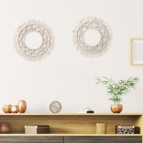 Böhmische hängende Wand Spiegel Frame Macrame Fringe runden Spiegel Dekor für Apartment Wohnzimmer Schlafzimmer