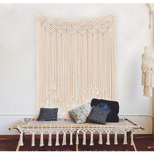 Makramee Wandbehang Dekoration Baumwolle Handmade Woven Wandteppich Böhmische Wanddeko Wandteppich und Türvorhan,