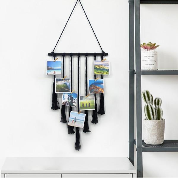 hängende Foto-Display Makramee Wandbehang Bilder Veranstalter Home Decor, mit 25 Holz-Clips