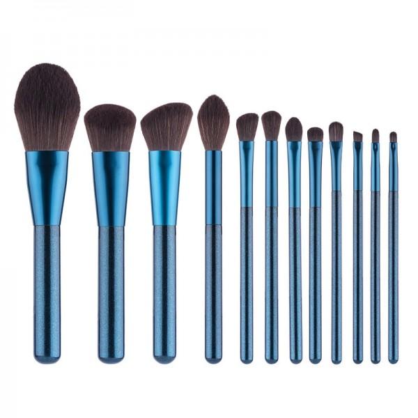 Professionelles Make up Pinselset: Professionelles Make-up-Pinsel, 12 blaue Make up Pinselsets, Make up Pinsel und Reinigungsbürsten