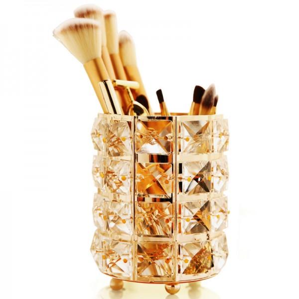 Kristall Make-Up Pinsel Halter Make-Up Pinsel Veranstalter Stift Bleistifthalter Lagerung Kosmetik Werkzeuge Container (Gold)
