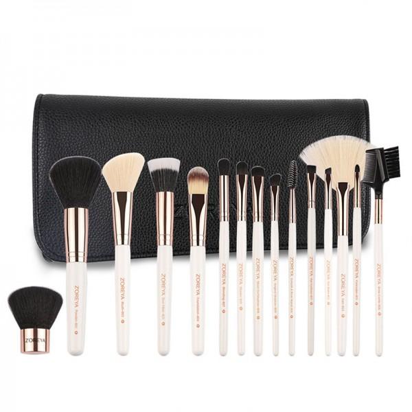 ZOREYA | 15 new pinsel luxus bürsten make-up kosmetische kit | cosmetic makeup brush set 15pcs | aufbewahrungstasche leder design | idee geschenk