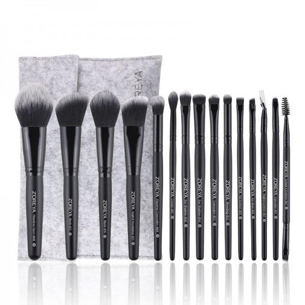 ZOREYA| Premium Reise Bürste Make-up | Set 15 teilig wesentlichen | Kunsthaar | Make Up Puder Kosmetik Pinsel | Pouchette Aufbewahrungsbox | Idee Geschenk