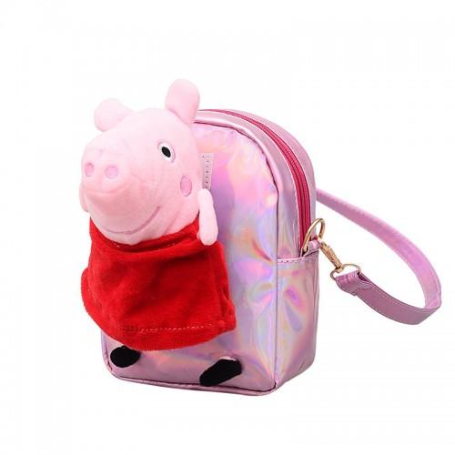 Peppa Pig Pink Premium Polyester Kleine Crossbody Nette Schulter Handtasche Spielzeug Handtasche Reisetasche für Kleinkind Kinder Kinder Vorschüler Baby