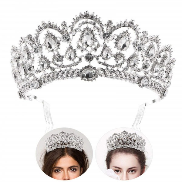 Prinzessin Tiara Krone mit Kamm, Braut Hochzeit Rhinestone Kristall Königin Crown Stirnband für Hochzeit Braut Partei Geburtstag