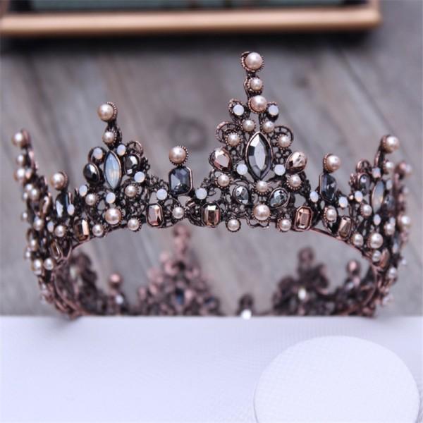 Vintage Crystal Black Runde Barock Diademe und Kronen Kopfschmuck für Frauen oder Männer Braut Hochzeit Kopf Schmuck Zubehör