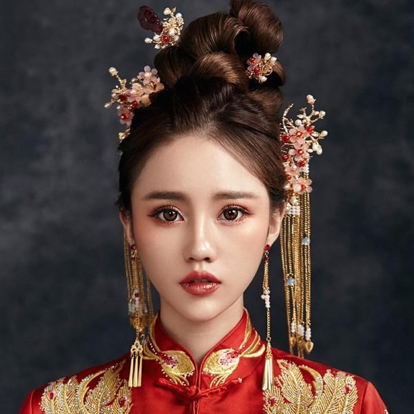 Traditionelle Chinesische Braut Kopfschmuck Kostüm Haarspangen Floral Haarnadel Hochzeit Hairwear Fotografie Haar Stick Zubehör