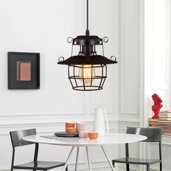 LED Pendellampe im Industriestil mit Metallschirm und unterseitiger Gitterabdeckung Retro Hängeleuchte Lampen kreative Schmiedeeisen Kronleuchter(1 flammig)