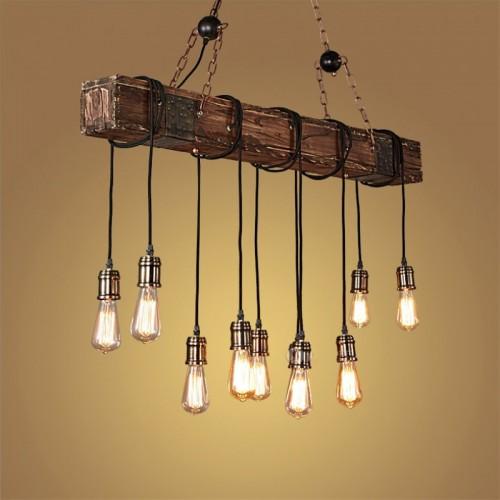 [Rabatt] Pendelleuchte-Retro Industrie Vintage Kronleuchter-Holz & Metall Materialien-118CM-Höhenverstellbar-E27 * 10 Hängeleuchte